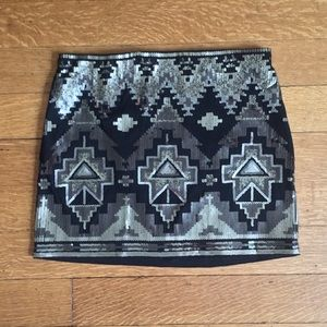 Sequined Silver and Black Mini Skirt